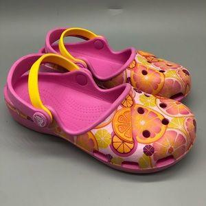 Crocs kids orange grapefruit lemon sandals / shoes